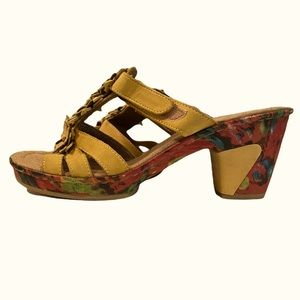 Strappy suede floral Rieker Shoe with heel